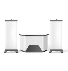 reception stand exhibition trade 3d mockup vector image