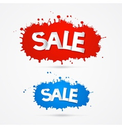 Red and Blue Sale Blots Splashes Icons vector image