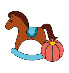 rocking horse rubber ball kid toys vector image