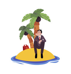 sad businessman sitting alone on island surrounded vector image