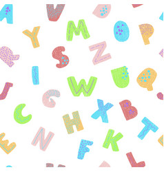 Seamless background with colorful letters vector