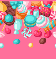 seamless pattern various candies and sweets vector image