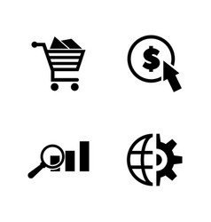 seo marketing simple related icons vector image
