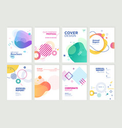 Set brochure annual report design template vector