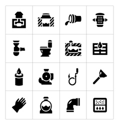 Set icons of sewerage vector