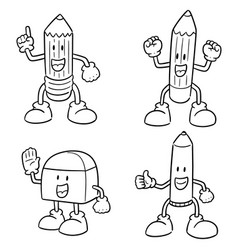 set of pen pencil and eraser cartoon vector image