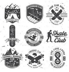 set skateboard and longboard club badges vector image
