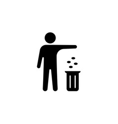 silhouette of a man throwing garbage in a bin vector image