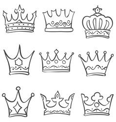sketch crown various doodle set vector image