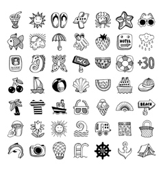 Sketch icon set of summer theme vector
