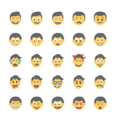 smiley flat icons set 24 vector image