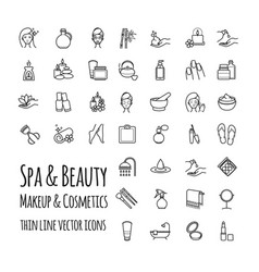 Spa beauty makeup and cosmetics thin line vector