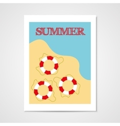 Summer poster with lifebouy vector image