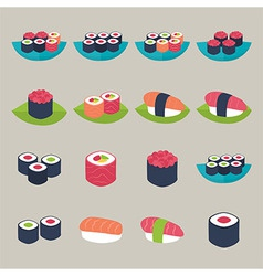 Sushi set over beige vector image