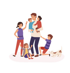 tired father having many children flat vector image