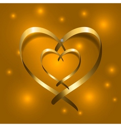 Two gold silk ribbon hearts golden couple satin vector