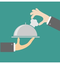 Two waiter hands with silver platter cloche vector image