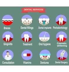 Types of dental clinic services vector