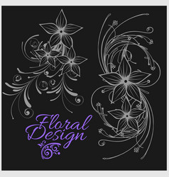 vintage floral design - set isolated on vector image