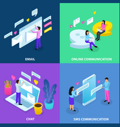 virtual communication isometric concept vector image
