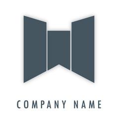 W grey logo vector image
