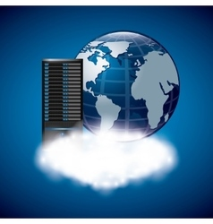Web hosting with planet icon Data center design vector