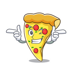 Wink pizza slice character cartoon vector
