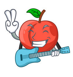 With guitar cartoon fresh sweet nectarines in the vector