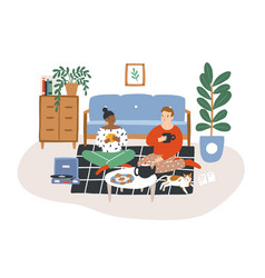 Young romantic couple sitting on floor drinking vector