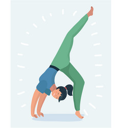 Young women doing exercises yoga poses vector