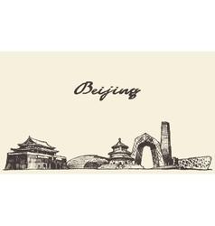 Beijing skyline drawn sketch vector image vector image
