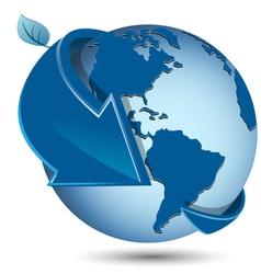 globe with blue arrow vector image vector image