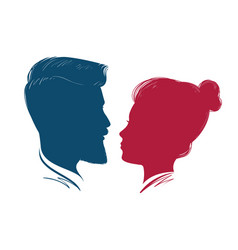 portrait of man and woman head profile vector image vector image
