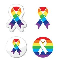 Rainbow flag ribbon - symbol of gay pride vector image