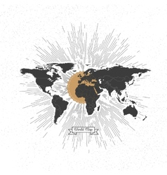 Black political world map with vintage style star vector image