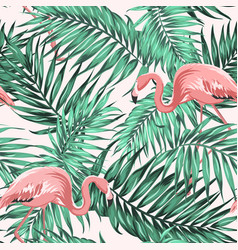 green tropical jungle leaves ping flamingo couple vector image vector image