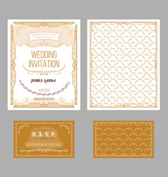 vintage wedding invitation cards set vector image vector image