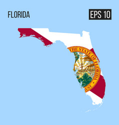 florida map border with flag eps10 vector image