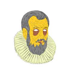 nobleman wearing ruff collar grime art vector image vector image