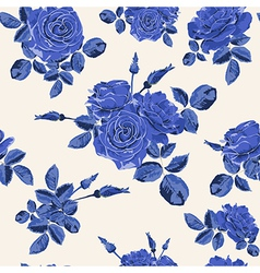 Beautiful seamless blue roses pattern vector image
