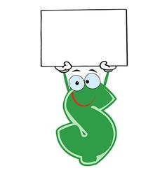 Dollar Cartoon Character Holding A Blank vector image vector image