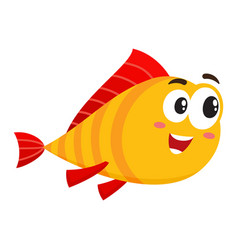 funny golden fish character with human face vector image vector image