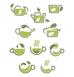 Green herbal tea icons vector image vector image