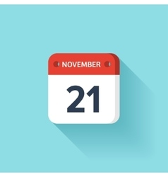 November 21 isometric calendar icon with shadow vector