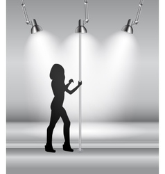 Silhouette of Dancing Striptease Girl on Pole vector image vector image