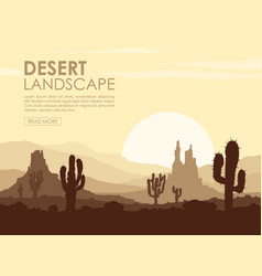 sunset in stone desert with cactuses vector image vector image