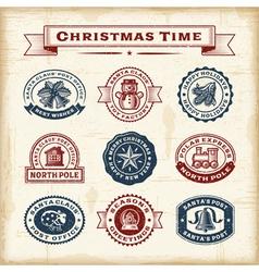 Vintage Christmas stamps set vector image