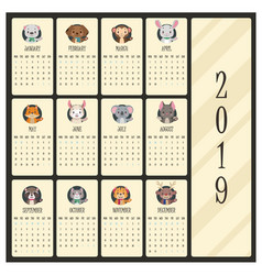 2019 calendar with cute animal portraits vector image