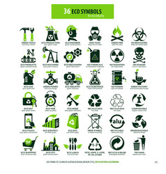 36 symbols for eco industry vector