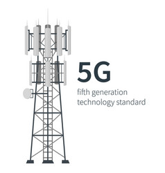 5g technology mast base stations white background vector